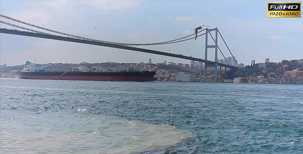 Bosphorus Bridge And Freighter