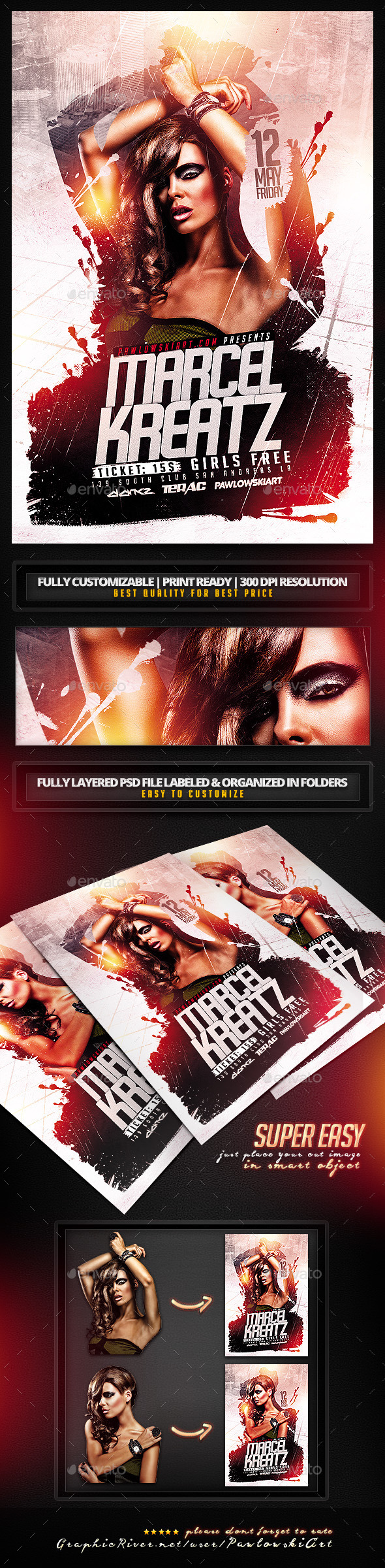 GraphicRiver Electro House DJ v2 Flyer PSD Template 11279130