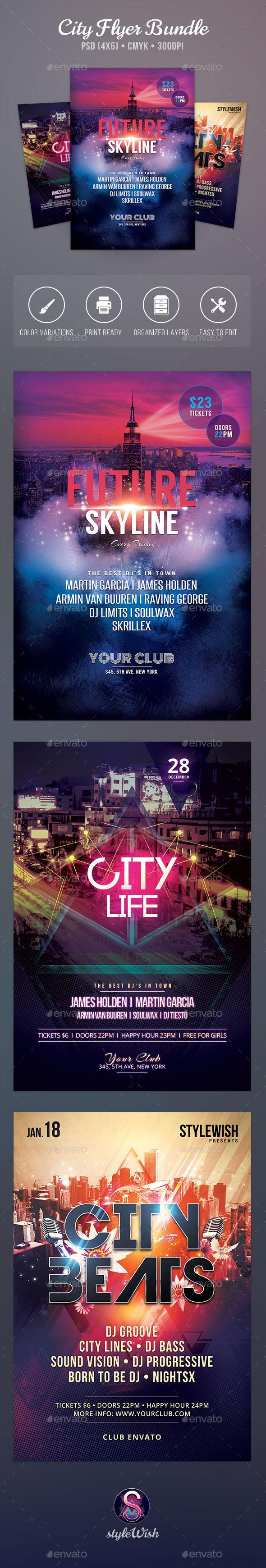 City Party Flyer Bundle - Clubs & Parties Events