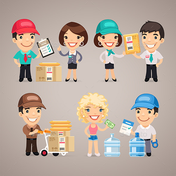 GraphicRiver Delivery Service Characters Set 11269717