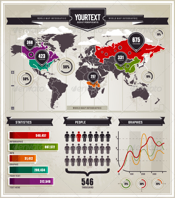 GraphicRiver Vector set of infographics elements 1130212