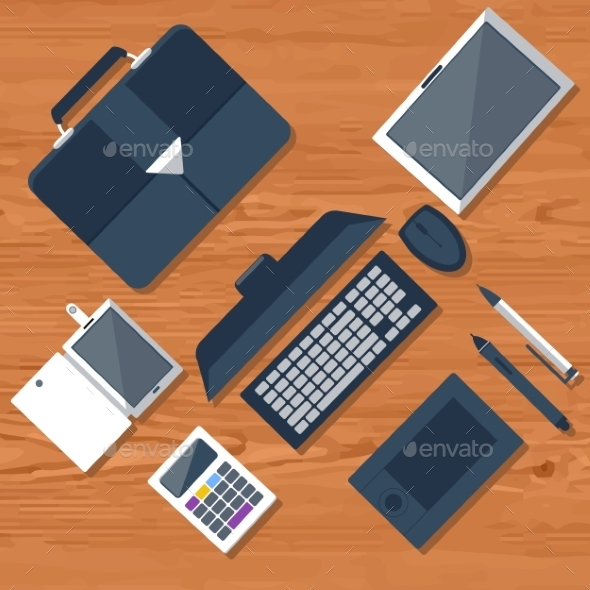 GraphicRiver Top View Of Workplace 11279940