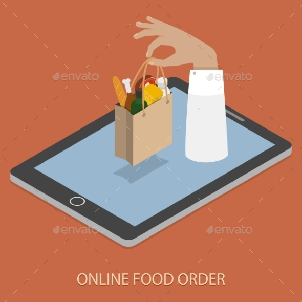 GraphicRiver Online Foood Ordering Concept Illustration 11280115