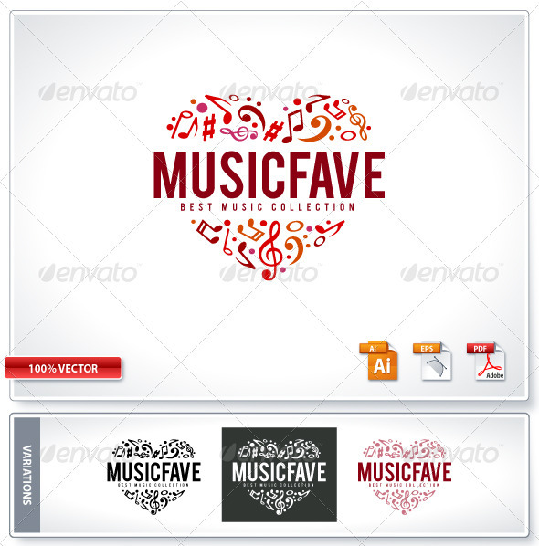 GraphicRiver Music Fave Logo Template 1130308