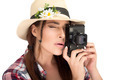Stylish Young Woman Capturing Photos with Vintage Camera - PhotoDune Item for Sale