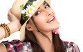 Happy Fashionable Woman Wearing a Hat with Flowers - PhotoDune Item for Sale