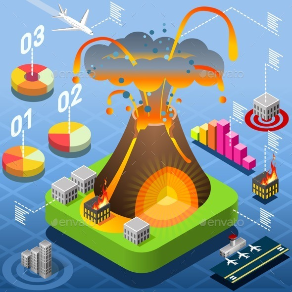 GraphicRiver Isometric Volcano Eruption Infographic 11280721