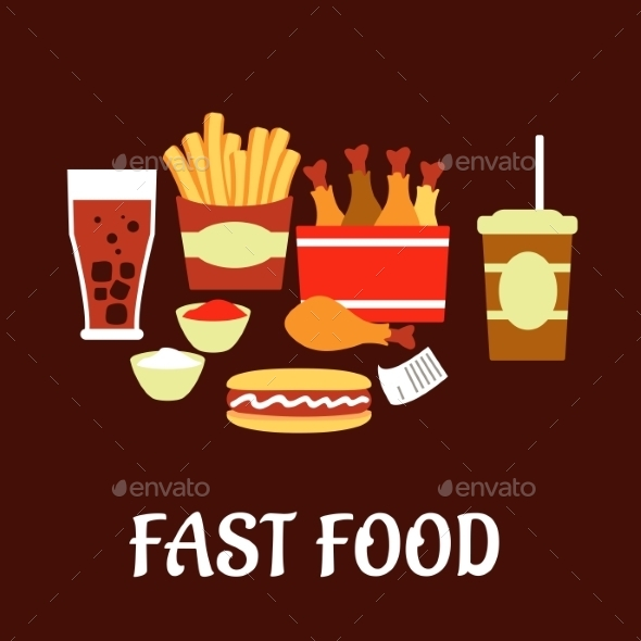 GraphicRiver Fast Food Snacks And Drinks Set In Flat Style 11280722
