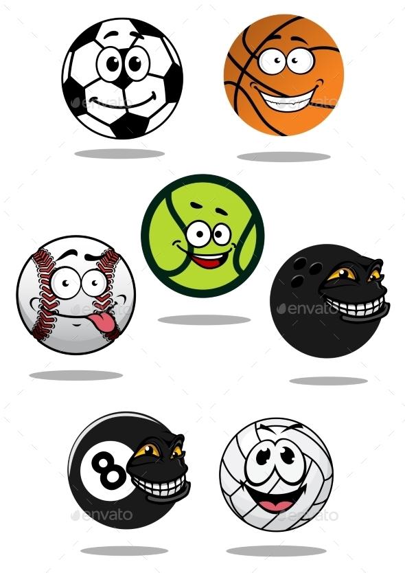 GraphicRiver Cute Cartoon Sports Balls Mascot Characters 11280729