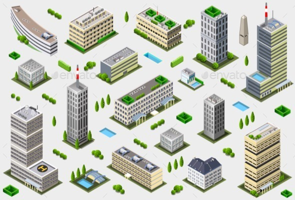 GraphicRiver Isometric Megalopolis Building Collection 11280736