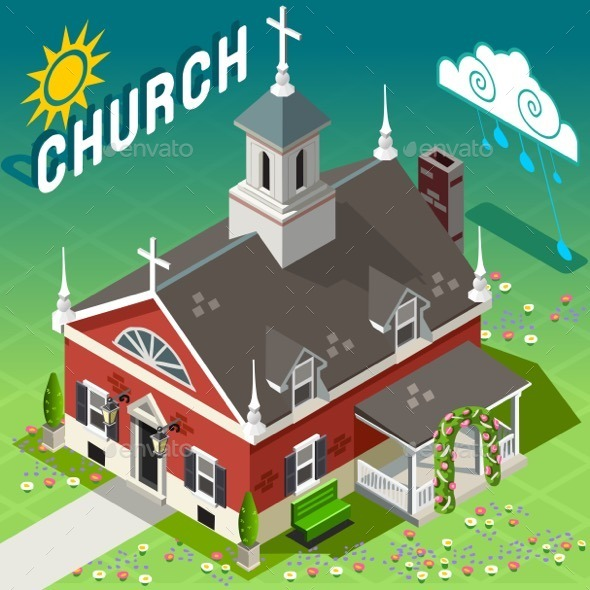 GraphicRiver Isometric Rural Church Building 11280738