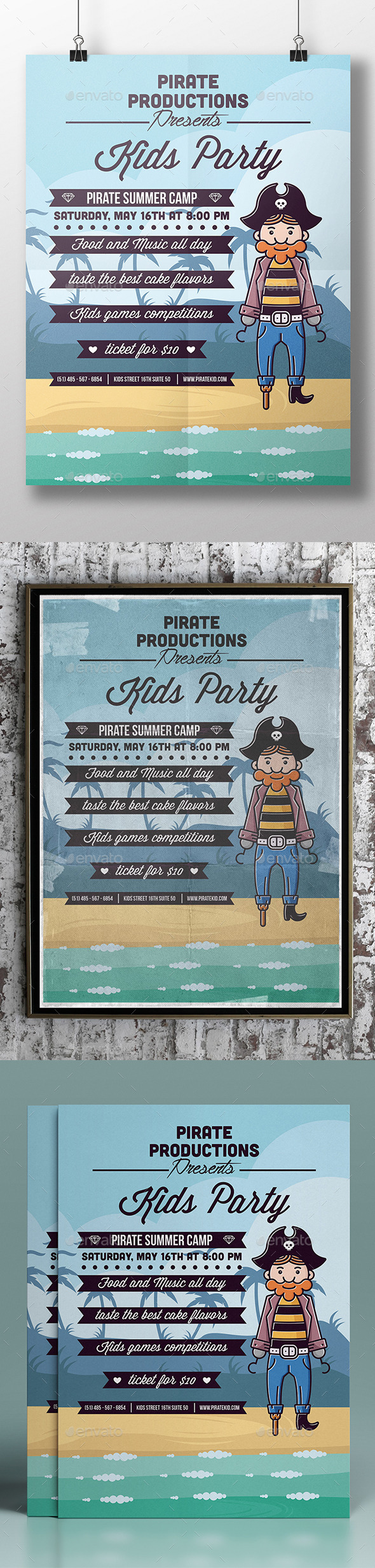 GraphicRiver Pirate Kids Party Flyer Template 11281149