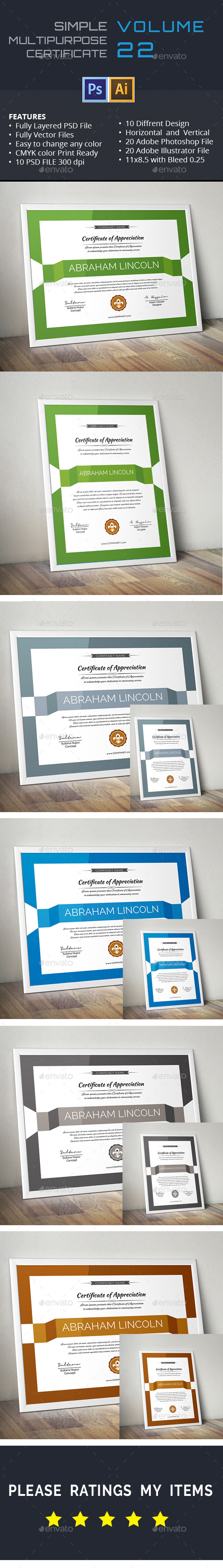 GraphicRiver Simple Multipurpose Certificate GD022 11281263