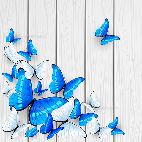 GraphicRiver Blue Butterflies on Wooden Background 11281450