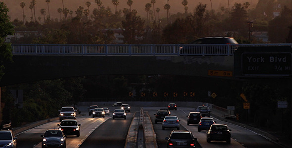 Sunset over Historic Arroyo Seco Parkway
