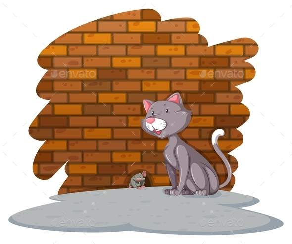 GraphicRiver Cat Waiting for the Rat 11281893