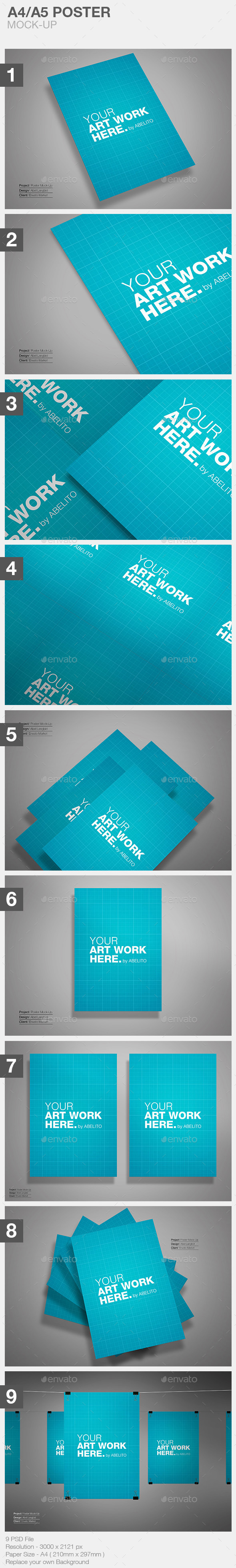 GraphicRiver A4 A5 Flyer Mock-Up 11281950