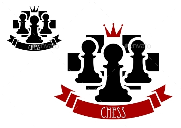 GraphicRiver Chess Emblem With Pawns On Chessboard Background 11281983