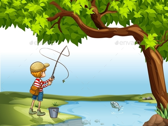 GraphicRiver Boy Fishing at the River 11282115
