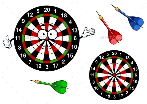 GraphicRiver Cartoon Dartboard Target Character With Colorful 11282129