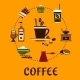 Coffee Drinks And Desserts Flat Icons - GraphicRiver Item for Sale