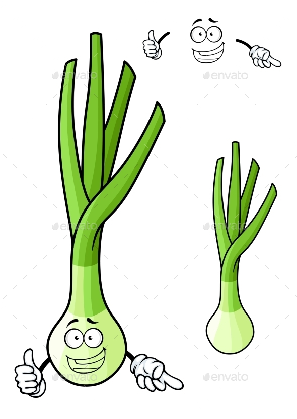 GraphicRiver Funny Spring Onion Vegetable Cartoon Character 11282135