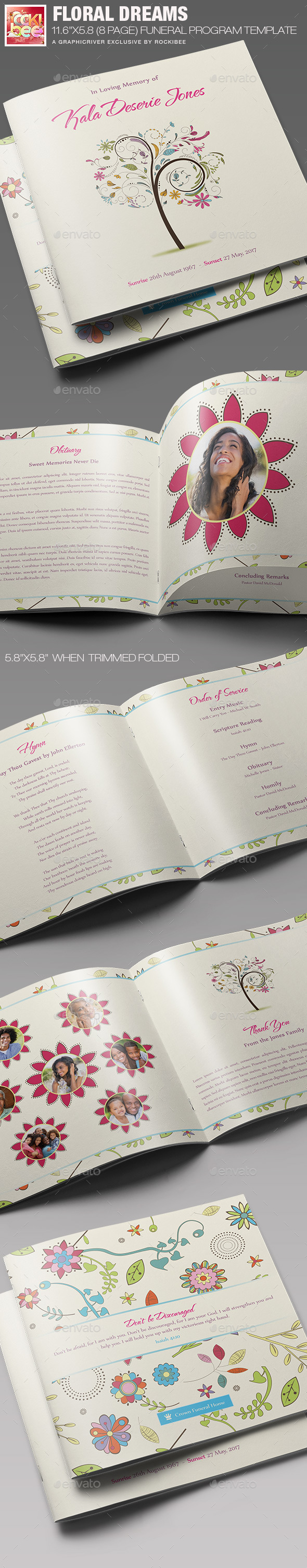 GraphicRiver Floral Dreams Funeral Program Template 11282162