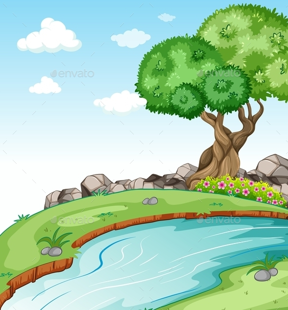 GraphicRiver Flowing River with Trees 11282360