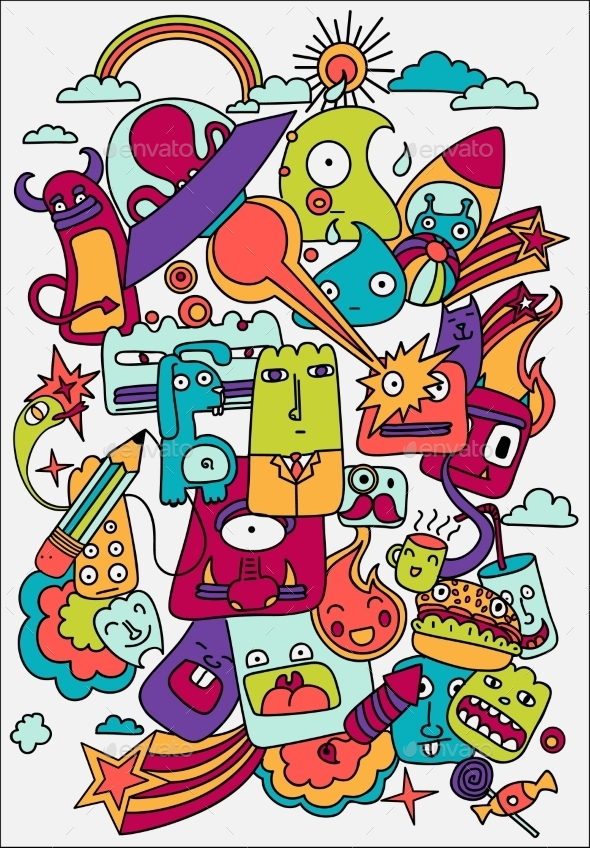 GraphicRiver Cute Crazy Doodles Life Vector Illustration 11282422
