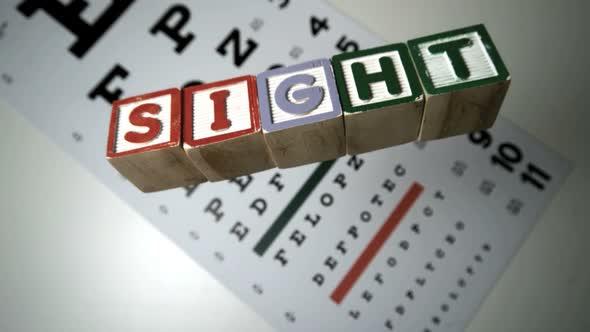 Blocks Spelling Sight Falling On Eye Test