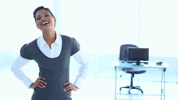 Businesswoman Put Hands On Her Hip