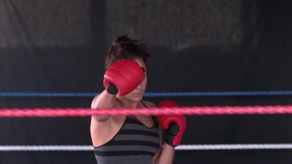 Sporty Determined Brunette Boxing
