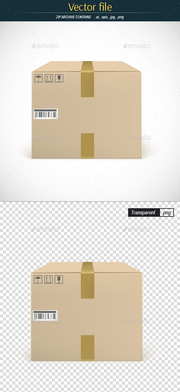 GraphicRiver Cardboard Box with Symbols and Duct Tape 11283085