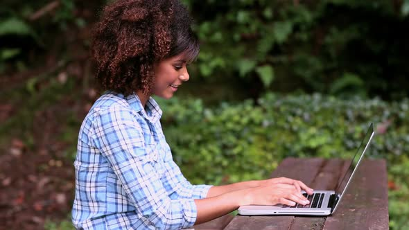 Gorgeous Content Brunette Sitting At Picnic Table Using Laptop