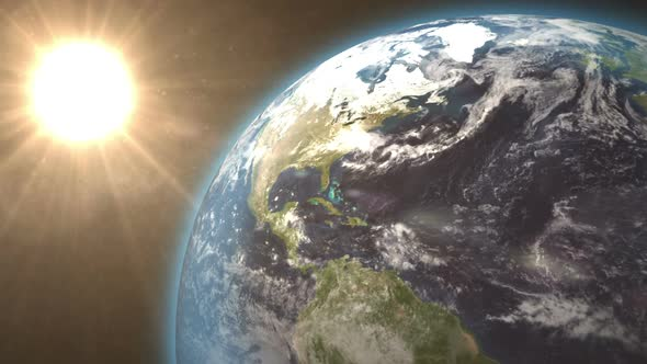 Revolving Earth And Bright Sun