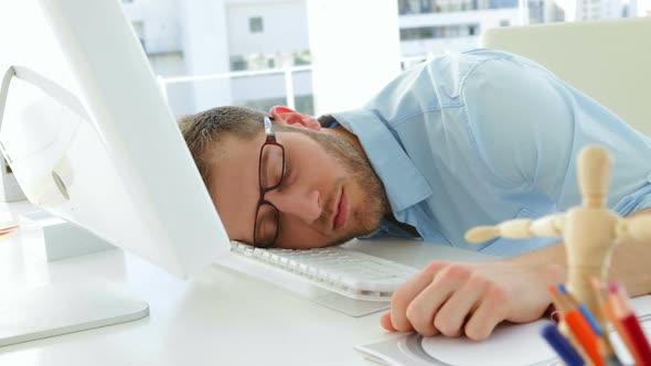 Attractive Businessman Sleeping