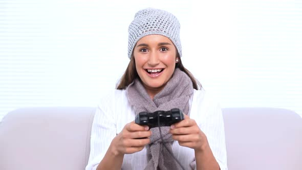 Happy Brunette Playing Video Games