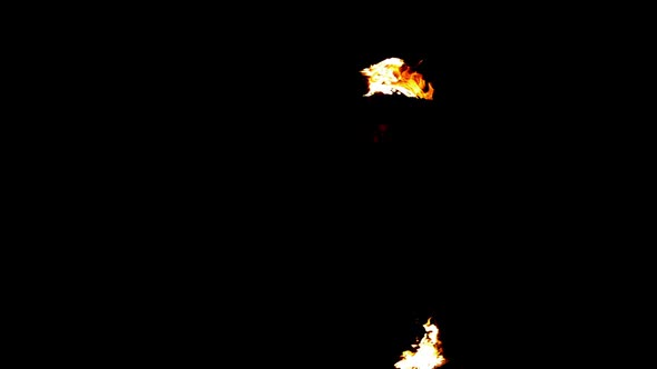 Fire Dancer Dancing With Spinning Fire In The Dark