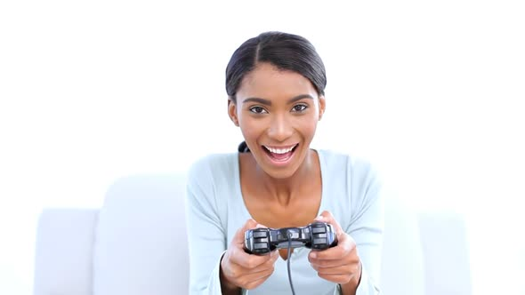 Woman Playing Video Games By Wavebreakmedia  Videohive-7331