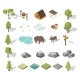 Isometric Forest Camping Elements For Landscape - GraphicRiver Item for Sale