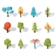 Tree Low Poly Icons, Vector Isometric - GraphicRiver Item for Sale