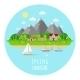 Flat Spring Landscape Illustration With Green - GraphicRiver Item for Sale