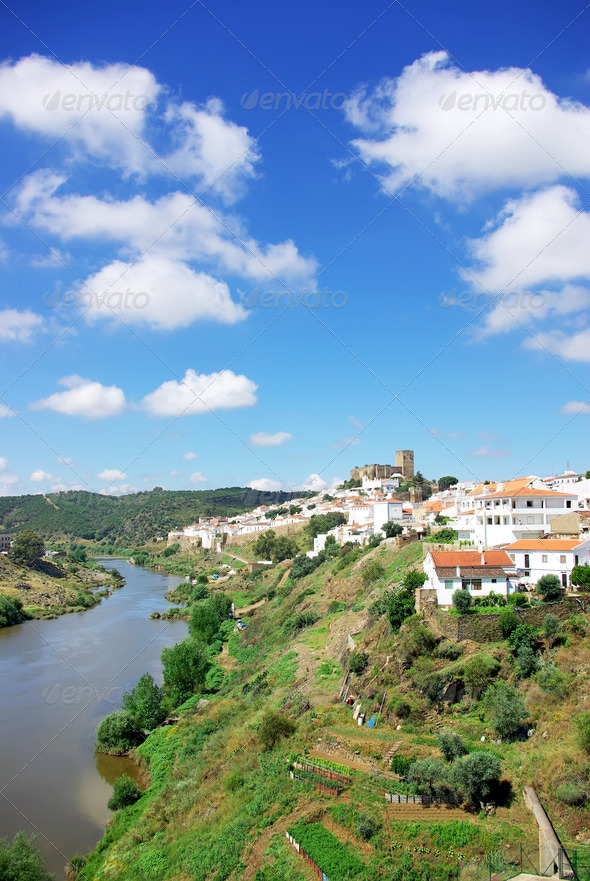 Mertola and Guadiana river - Stock Photo - Images