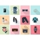 Women Clothes And Accessories Icons In Flat Style - GraphicRiver Item for Sale