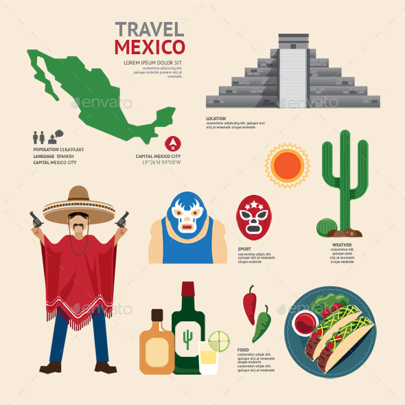 GraphicRiver Travel Concept Mexico Landmark Flat Icons Design 11284726