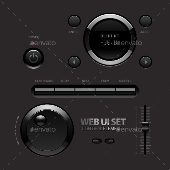 GraphicRiver Dark Shiny Web UI Elements Buttons Switches 11284756
