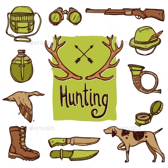 GraphicRiver Hunting Icons Set 11284764