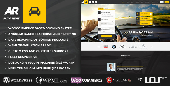 ThemeForest Auto Rent Car Rental WordPress Theme 11214151