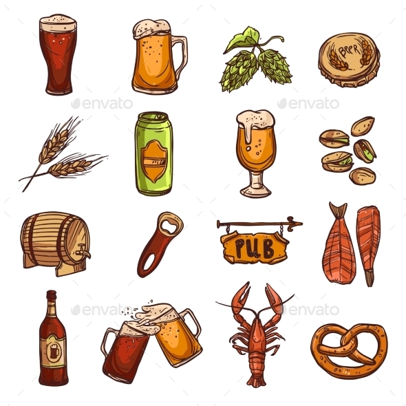 GraphicRiver Beer Sketch Set 11284769