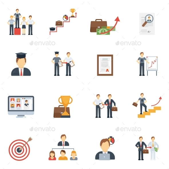 GraphicRiver Career Icons Flat Set 11284782